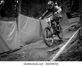 LEOGANG, AUSTRIA - JUNE 15, 2014: Brendan Fairclough of Gstaad-Scott is seen during pre-final training at the UCI Downhill Mountain Bike World Cup in Leogang, Austria.