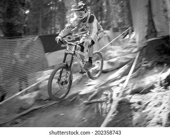 LEOGANG, AUSTRIA - JUNE 15, 2014: Matej Charvat of Banshee Bikes Factory Team is seen during pre-final training at the UCI Downhill Mountain Bike World Cup in Leogang, Austria.