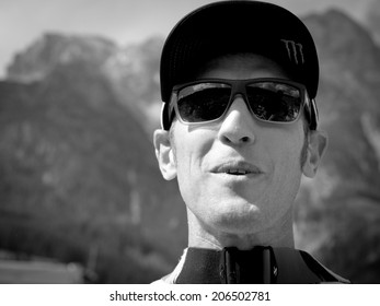 LEOGANG, AUSTRIA - JUNE 15, 2014: Steve Peat of Santa Cruz Syndicate is seen after the final of the UCI Downhill Mountain Bike World Cup in Leogang, Austria.