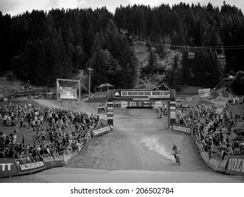 LEOGANG, AUSTRIA - JUNE 15, 2014: Josh Bryceland of Santa Cruz Syndicate arrives to the finish area after his winning race run at the UCI Downhill Mountain Bike World Cup in Leogang, Austria.