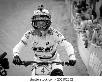 LEOGANG, AUSTRIA - JUNE 15, 2014: Rachel Atherton of GT Factory Racing is seen in the finish area after her race run during the final of the UCI Downhill Mountain Bike World Cup in Leogang, Austria.
