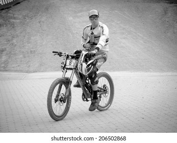 LEOGANG, AUSTRIA - JUNE 15, 2014: Greg Minaar of Santa Cruz Syndicate is seen in the finish area after his race run during the final of the UCI Downhill Mountain Bike World Cup in Leogang, Austria.