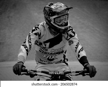 LEOGANG, AUSTRIA - JUNE 15, 2014: Steve Peat of Santa Cruz Syndicate is seen after his race run during the final of the UCI Downhill Mountain Bike World Cup in Leogang, Austria.