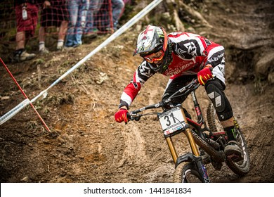 LEOGANG, AUSTRIA - SEPTEMBER 22, 2013. Steve Peat (GBR) racing for the Santa Cruz Syndicate team at the UCI World Cup Mountain Bike Downhill event.