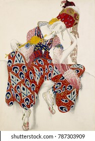 Leon Baksts costume design for Ballet Russe production of The Flower of Immortality. It was worn for role of Iksender danced by Vaslav Nijinsky in 1922