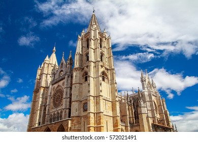 LEON, CASTILLA, SPAIN - August 13, 2015: The place in front of cathedral of León, a gothic temple from the XIII century. One of the most important of this architectonic style.