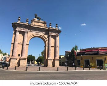 Leon Guanajuato Mexico, 01/09/2017. Triumphal Arch of the Causeway of the Heroes. It is a monument located in the center of the city, a must for locals and foreigners.Created by Lerdo de Tejada 1893.