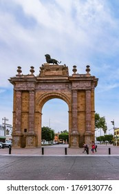 Leon, Guanajuato, Mexico - 27th April 2016: Triumphal Arch of the Causeway of the Heroes from Madero street