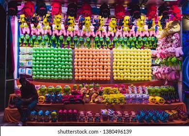 Leon, Guanajuato, Mexico - January 31 2019: Leon Annual City Fair, carnival games with prizes