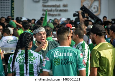 Leon, Mexico. Aug. 17, 2019 - Mexican soccer fans supporting local team prior to match between Leon FC vs Chivas FC where Leon wins.