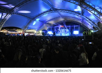 Leon, Mexico. February 5th, 2019. Mexican band Reik gives a free concert for assistants of Feria Leon with a totally full entrance in Foro Victoria. This concert was the 1st of the year for the band