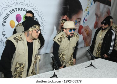 Leon, Mexico. Jan 20, 2019: Kumbia Kings at backstage in press conference before their concert for 443th anniversary of Leon's foundation during Feria de Leon 2019.