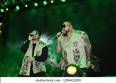 Leon, Mexico. Jan 20, 2019: DJ Kane and AB Quintanilla III at Kumbia Kings Concert for 443th anniversary of Leon's foundation during Feria de Leon 2019