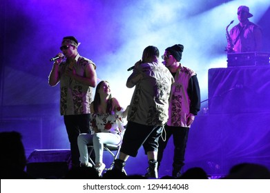 Leon, Mexico. Jan 20, 2019: Kumbia Kings sings for a Fan during their concert by 443th anniversary of Leon's foundation during Feria de Leon 2019
