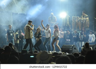 Leon, Mexico. Jan 20, 2019: Fans dance contest at Kumbia Kings Concert by 443th anniversary of Leon's foundation during Feria de Leon 2019