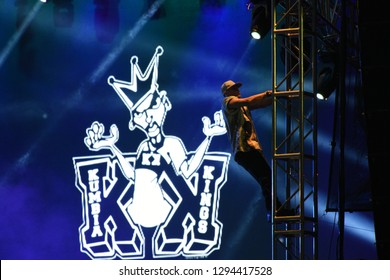 Leon, Mexico. Jan 20, 2019: Kumbia Kings member climbing the stage at Concert by 443th anniversary of Leon's foundation during Feria de Leon 2019
