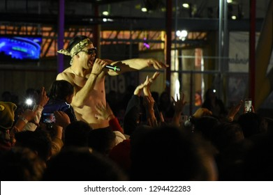 Leon, Mexico. Jan 20, 2019: Second Vocalist sings between fans at Kumbia Kings Concert by 443th anniversary of Leon's foundation during Feria de Leon 2019