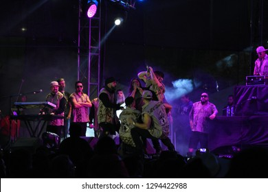 Leon, Mexico. Jan 20, 2019: Kumbia Kings dances for a Fan at their concert Concert by 443th anniversary of Leon's foundation during Feria de Leon 2019
