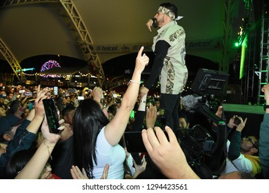 Leon, Mexico. Jan 20, 2019: Kumbia Kings shake hands with fans at their concert by 443th anniversary of Leon's foundation during Feria de Leon 2019