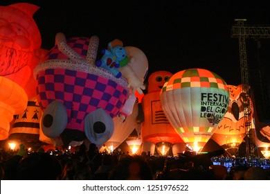 Leon, Mexico. Nov 18, 2018: Magical Nights of Festival Internacional del Globo 2018 (International Hot Air Balloon Fest)