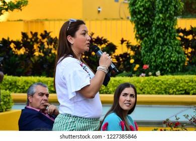 Leon, Mexico. Nov 8, 2018: Spanish Fashion Designer Agatha Ruiz de la Prada gives a picnic conference into Marriott hotel for FIMODA to students and fashionistas during Guanajuato Fashion Month