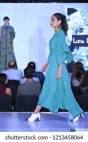 Leon, Mexico. Oct 25, 2018: ANPIC presents Fashion Cocktail Runway with designs of Mexican brand YOEMOR by Joel Salazar and shoes designed by Luna Love Craft. Models by New Face Agency