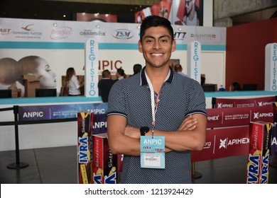 Leon, Mexico. Oct 25, 2018: Mexican entrepreneur & CEO of Proove sport shoes, Gabriel Valencia, looking for suppliers during his visit to ANPIC, America's largest fair of footwear.