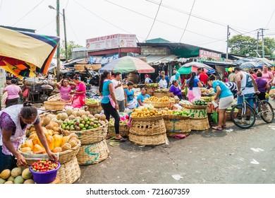 LEON, NICARAGUA - APRIL 25, 2016: View of Mercado la Terminal market in Leon, Nicaragua