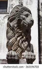 LEON, NICARAGUA - CIRCA JANUARY 2013: Lion statue at Catedral de Leon, The largest cathedral in Central America