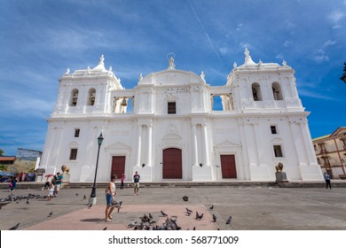 Leon, Nicaragua - January 3, 2017: León has the best colonial architecture. It is a university town that stubbornly remains somewhat pro-Sandinista.UNESCO World Heritage Site ofNicaragua.
