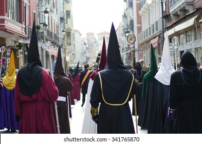 LEON, SPAIN - APRIL 2014. A procession during the Holy Week Easter holidays celebrations. Leon, Spain, 2014
