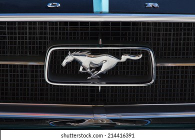 LEON, SPAIN - APRIL 26, 2014: Emblem of a Ford Mustang in the XV Classic Car Rally  of Leon. Logo created the current version from 1963 by Charles Keresztes and Waino Kangas