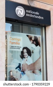 LEON, SPAIN - AUGUST 1, 2020. Nationale-Nederlanden logo on Nationale-Nederlanden store. NN is one of the largest insurance and asset management companies in the Netherlands