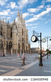 LEON, SPAIN - AUGUST 8, 2018 - The Santa María de León Cathedral is also called The House of Light or the Pulchra Leonina