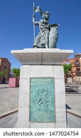 Leon, Spain - June 25th, 2019: Alfonso IX, 12th Century king of Leon and Galicia. Monument at Santo Martino square, Leon, Spain. Sculpted by Estanislao Garcia Olivares
