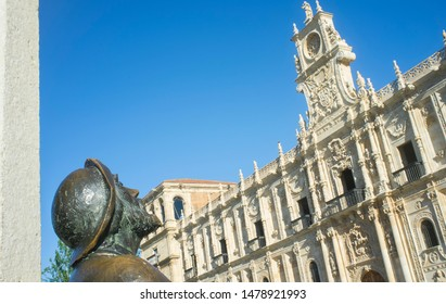 Leon, Spain - June 26th, 2019: Monument To The Pilgrim at San Marcos Square, Leon City, Castile and Leon, Spain