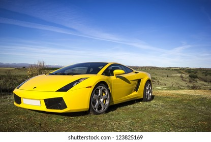 LEON, SPAIN - NOVEMBER 15: A Lamborghini Gallardo participating in the 4th concentration of the International Asociation of Supercars on November 15, 2012 in Leon, Spain