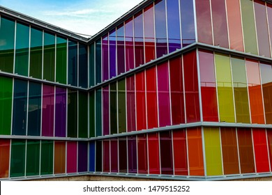 LEON, SPAIN-SEP 02: Facade of MUSAC. Contemporary Art Museum of Castilla y Leon. Contemporary building opened in 2005. View of colorful facade  on Sep 02, 2010, in Leon, Spain