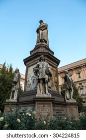 Leonado Da Vinci statue in a summer evening in Milan, Italy