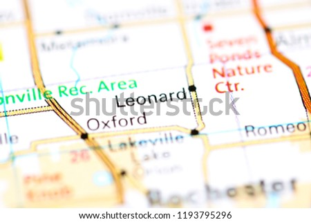 Leonard Michigan Map.Leonard Michigan Usa On Map Stock Photo Edit Now 1193795296