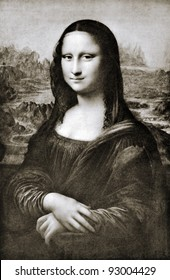 "Leonardo da Vinci (1452 - 1519) ""Mona Lisa"" La Gioconda. Reproduction from illustrated Encyclopedia ""Treasures of art"", Partnership «Prosvesheniye», St. Petersburg , Russia , 1906"