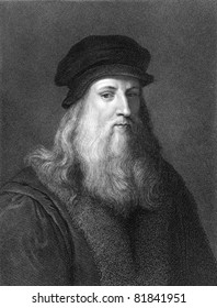 Leonardo Da Vinci (1452-1519). Engraved by J.Pofselwhite and published in The Gallery of Portraits with Memoirs encyclopedia, United Kingdom, 1833.