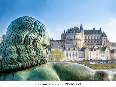 Leonardo da Vinci face looking Amboise Castle, France