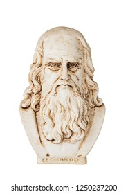 Leonardo da vinci frontal view, one of the greatest mind in the humanity, isolated on white background