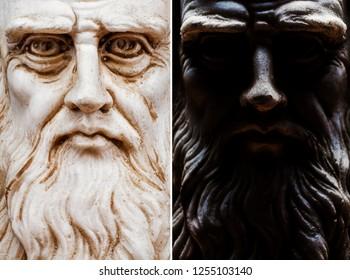 Leonardo da vinci macro closeup frontal view of the entire face