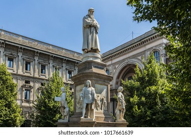 The Leonardo da Vinci monument at Piazza della Scala. Milan, Italy.