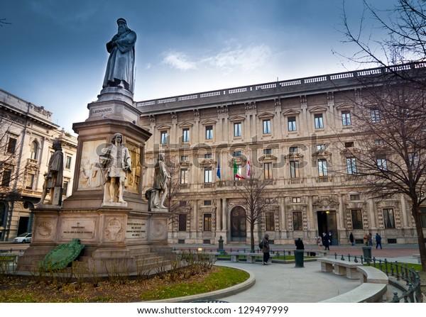 Leonardo Da Vinci monument in Piazza della Scala, in front of Palazzo Marino, Milan's city hall, Italy