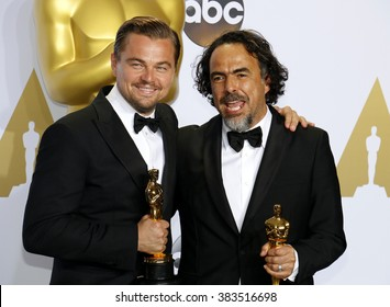 Leonardo DiCaprio and Alejandro Gonzalez Inarritu at the 88th Annual Academy Awards - Press Room held at the Loews Hollywood Hotel in Hollywood, USA on February 28, 2016.