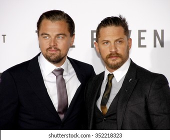 Leonardo DiCaprio and Tom Hardy at the Los Angeles premiere of 'The Revenant' held at the TCL Chinese Theatre in Hollywood, USA on December 16, 2015.