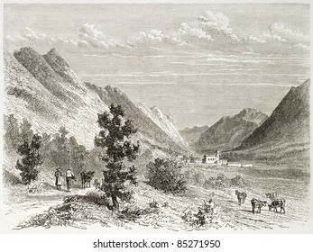 Leoncel old view, France. Created by Girardet after Muston, published on Le Tour du Monde, Paris, 1860